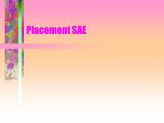 Placement SAE