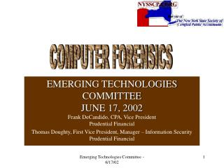 EMERGING TECHNOLOGIES COMMITTEE JUNE 17, 2002 Frank DeCandido, CPA, Vice President Prudential Financial