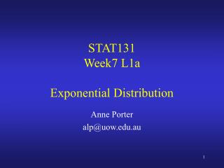 STAT131 Week7 L1a Exponential Distribution