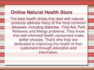 health and natural food store