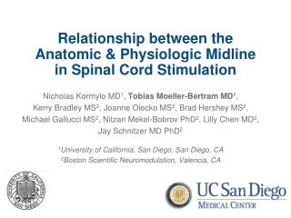 Relationship between the  Anatomic & Physiologic Midline  in Spinal Cord Stimulation