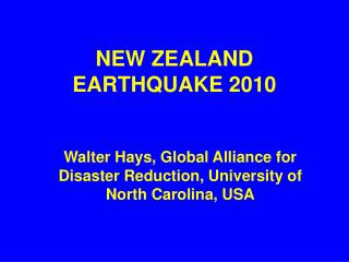 NEW ZEALAND EARTHQUAKE 2010
