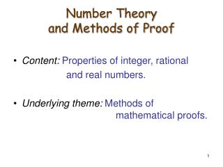 Number Theory  and Methods of Proof