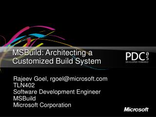 MSBuild: Architecting a Customized Build System