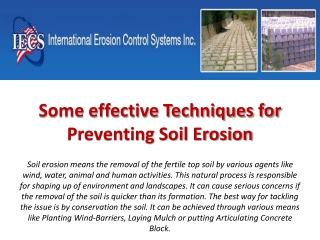 Some effective Techniques for Preventing Soil Erosion