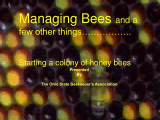 Managing Bees  and a few other things…………….. Starting a colony of honey bees Presented By The Ohio State Beeke