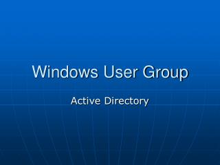 Windows User Group