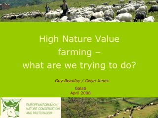 High Nature Value farming – what are we trying to do?