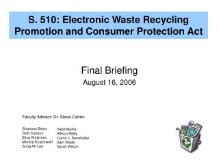 S. 510: Electronic Waste Recycling Promotion and Consumer Protection Act