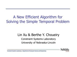 A New Efficient Algorithm for  Solving the Simple Temporal Problem