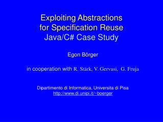 Exploiting Abstractions  for Specification Reuse Java/C# Case Study
