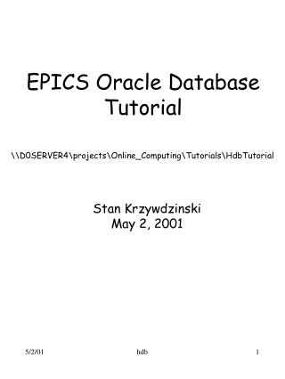 EPICS Oracle Database Tutorial