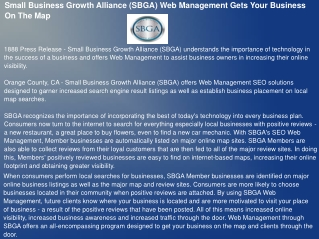Small Business Growth Alliance (SBGA) Web Management Gets