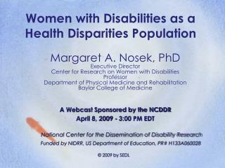 Women with Disabilities as a Health Disparities Population