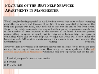 Serviced Apartments in Manchester- High in Luxury Low in Cos