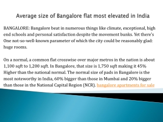 Average size of Bangalore flat most elevated in India