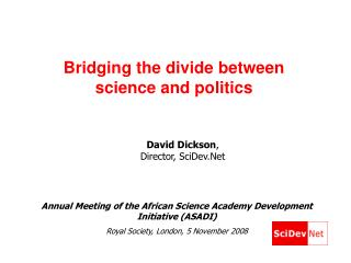 Bridging the divide between science and politics