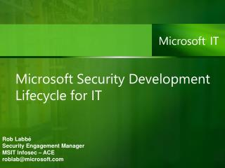 Microsoft Security Development Lifecycle for IT