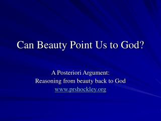 Can Beauty Point Us to God?