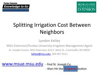 Splitting Irrigation Cost Between Neighbors