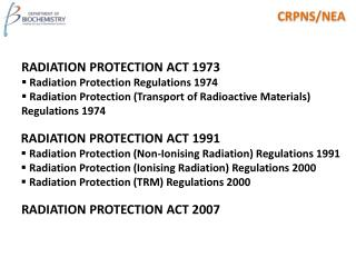 RADIATION PROTECTION ACT 1991  Radiation Protection (Non-Ionising Radiation) Regulations 1991  Radiation Protection (Ion