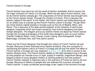 French Fashion In Europe