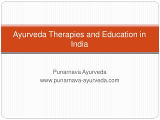 Ayurveda therapies  & treatment India
