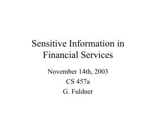 Sensitive Information in Financial Services