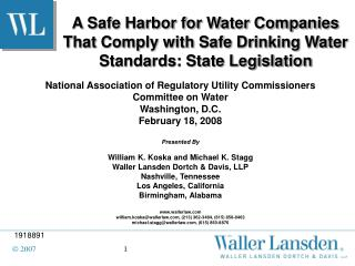 A Safe Harbor for Water Companies That Comply with Safe Drinking Water Standards: State Legislation
