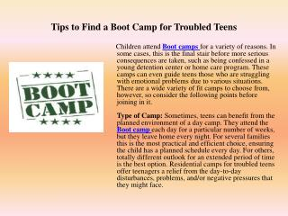 Tips to Find a Boot Camp for Troubled Teens