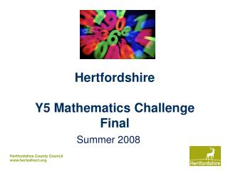 Hertfordshire Y5 Mathematics Challenge Final