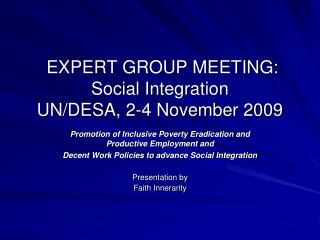 EXPERT GROUP MEETING: Social Integration UN