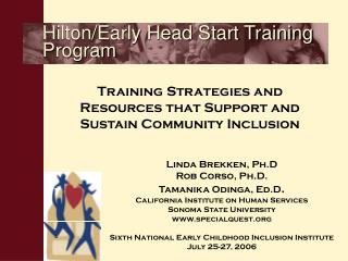 Hilton/Early Head Start Training Program