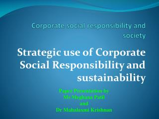 Corporate social responsibility and society