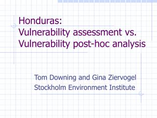 Honduras: Vulnerability assessment vs. Vulnerability post-hoc analysis