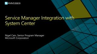 Service Manager Integration with System Center