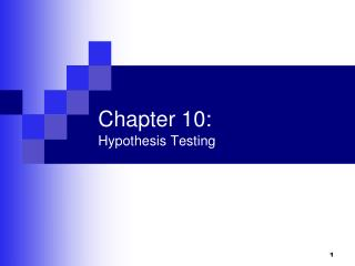 Chapter 10: Hypothesis Testing