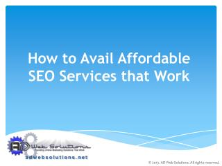 How To Avail Affordable SEO Services That Works