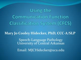 Using the  Communication Function Classification System (CFCS)