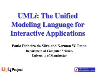 UML i : The Unified Modeling Language for Interactive Applications