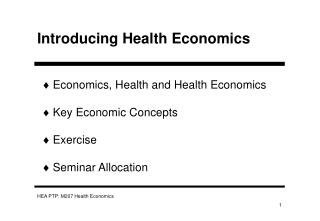 Introducing Health Economics