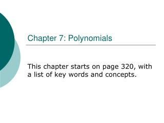 Chapter 7: Polynomials