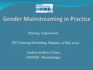 Gender Mainstreaming in Practice