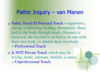 Pathic Inquiry – van Manen