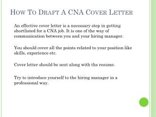 How To Draft CNA Cover Letter