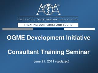 OGME Development Initiative Consultant Training Seminar