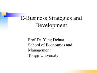 E-Business Strategies and Development