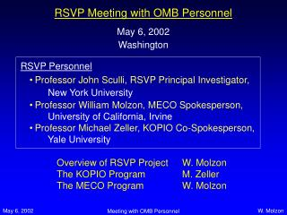 RSVP Meeting with OMB Personnel