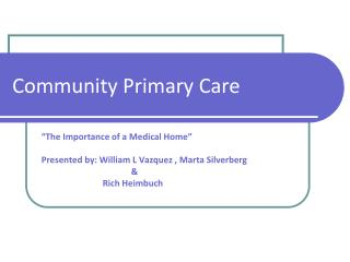 Community Primary Care