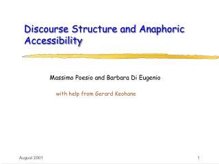 Discourse Structure and Anaphoric Accessibility